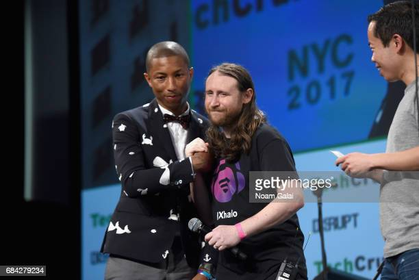 Pharrell Williams Founder and CEO of MIXhalo Mike Einziger and TechCrunch senior writer Anthony Ha speak onstage during TechCrunch Disrupt NY 2017...
