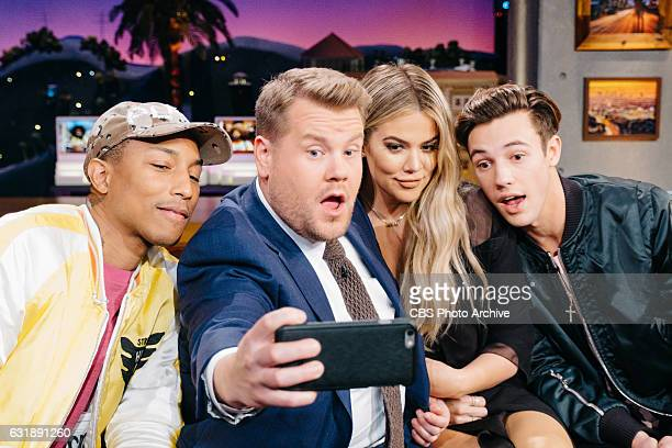 Pharrell Williams Khloe Kardashian and Cameron Dallas chat with James Corden during 'The Late Late Show with James Corden' Wednesday January 11 2017...