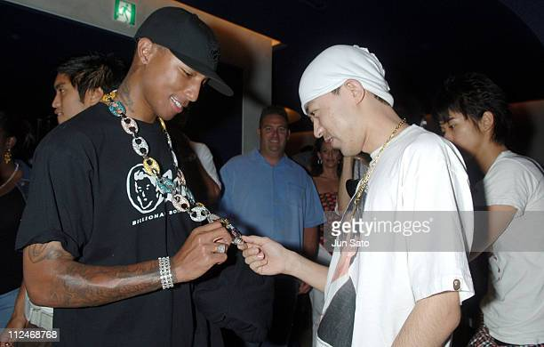 Pharrell Williams of N*E*R*D with NIGO during BAPE CAFE Reception and Opening Party at Bape Cafe in Tokyo Japan