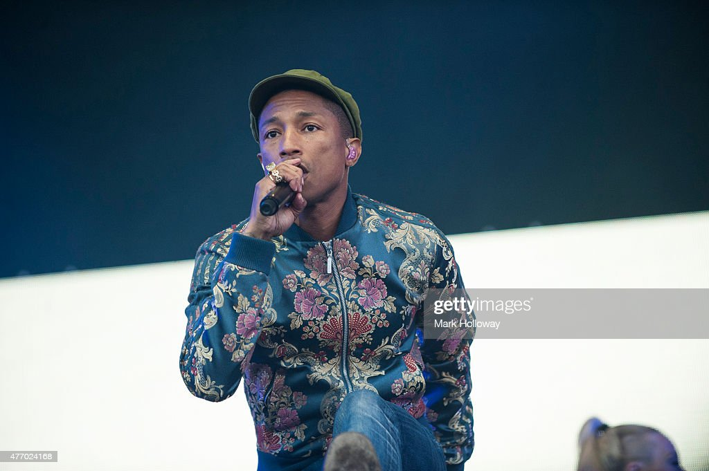 Pharrell Williams performing at IOW Festival at Seaclose Park on June 13 2015 in Newport United Kingdom