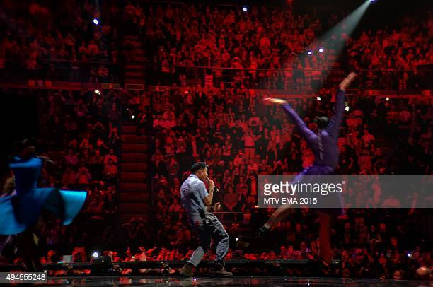 Pharrell Williams performing on stage at MTV EMA's 2015 Instant View at the MTV EMA's 2015 at Mediolanum Forum on October 25 2015 in Milan Italy