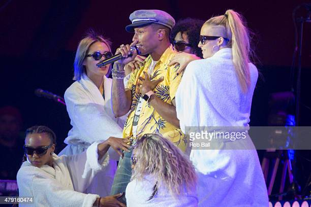Pharrell Williams performs at Roskilde Festival on July 1 2015 in Roskilde Denmark
