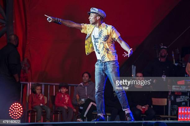 Pharrell Williams performs at Roskilde Festival on July 1 2015 in Roskilde Denmark