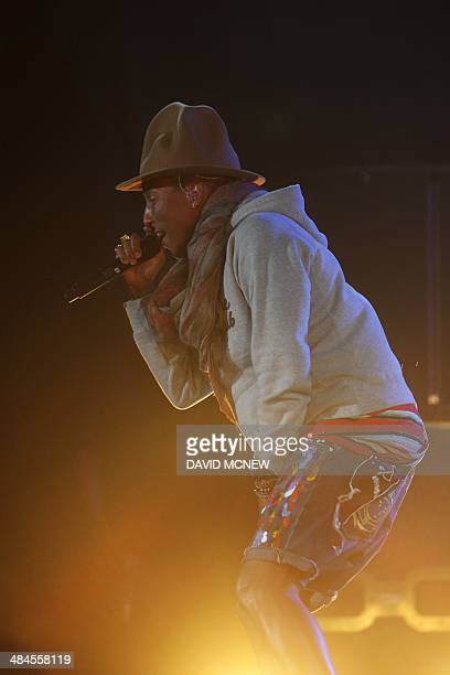 Pharrell Williams performs at the Coachella Valley Music Arts Festival at the Empire Polo Club in Indio California April 12 2014 The annual music...
