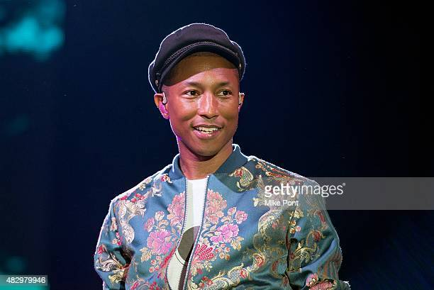 Pharrell Williams performs during day one of the 2015 FOLD Festival at Martha Clara Vineyards on August 4 2015 in Riverhead New York