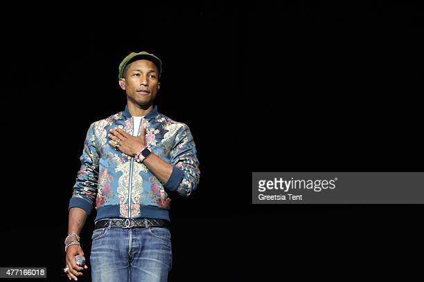 Pharrell Williams performs live during the Pinkpop Festival at Megaland on June 14 2015 in Landgraaf Netherlands