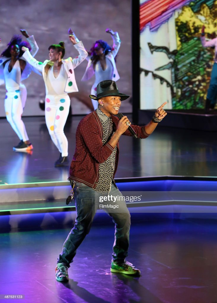 Pharrell Williams performs on stage at Google presents YouTube Brandcast event at The Theater at Madison Square Garden on April 30, 2014 in New York City.