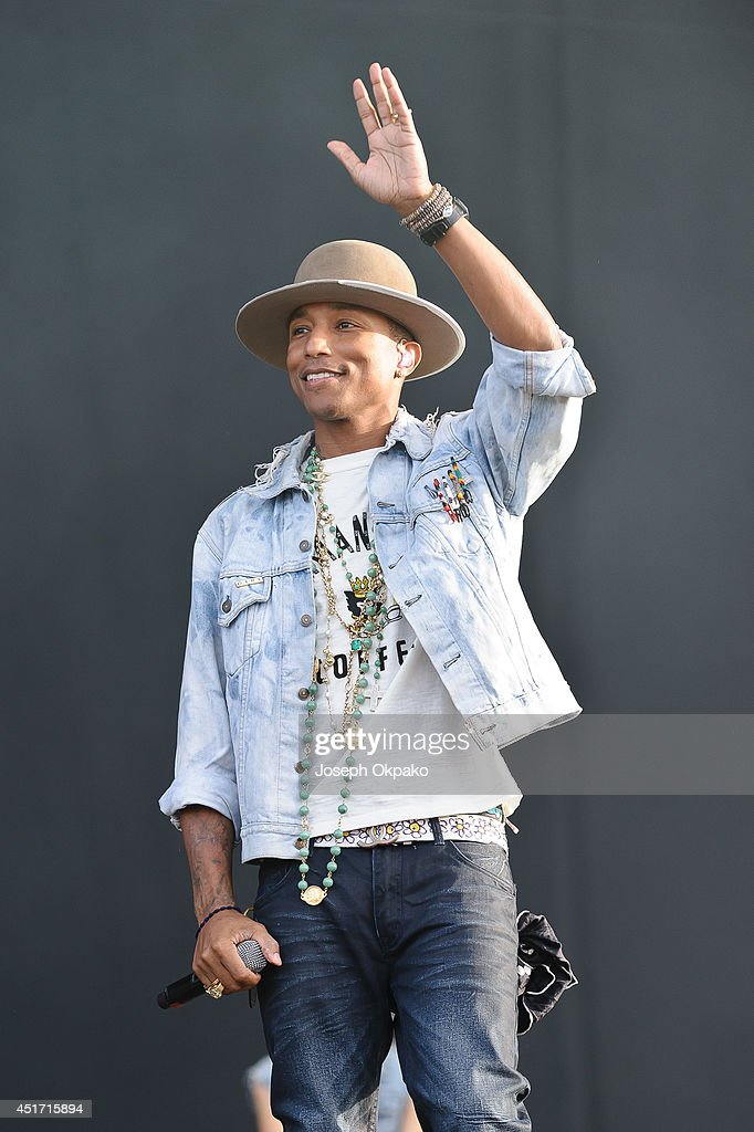 Pharrell Williams performs on stage at Wireless Festival at Finsbury Park on July 4, 2014 in London, United Kingdom.