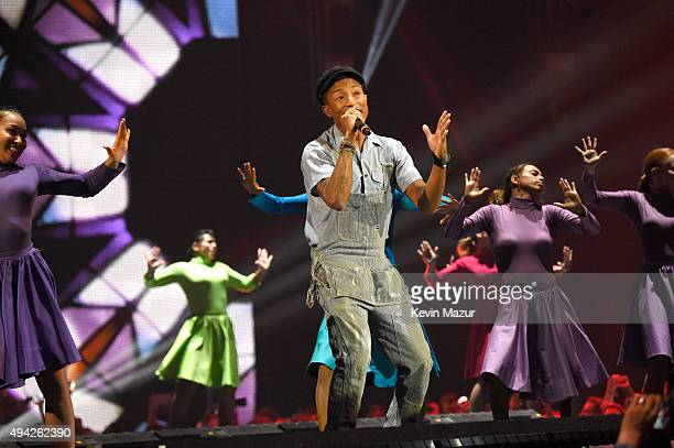 Pharrell Williams performs onstage at the MTV EMA's 2015 at Mediolanum Forum on October 25 2015 in Milan Italy