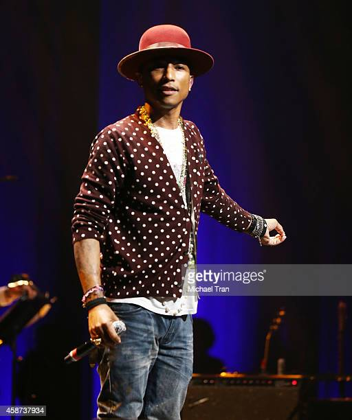 Pharrell Williams performs onstage during The Thelonius Monk Jazz Trumpet Competition and All Star Gala concert held at Dolby Theatre on November 9...