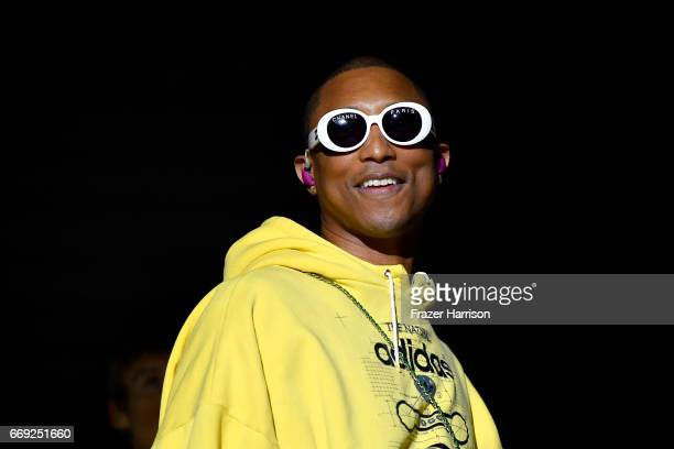 Pharrell Williams performs onstage with Hans Zimmer at the Outdoor Theatre during day 3 of the Coachella Valley Music And Arts Festival at the Empire...
