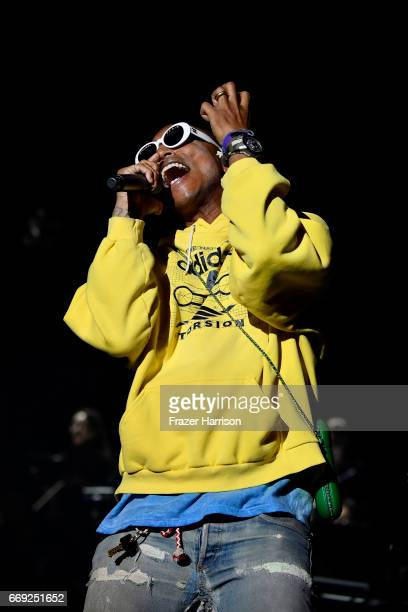 Pharrell Williams performs with Hans Zimmer on the Outdoor Theatre during day 3 of the Coachella Valley Music And Arts Festival at the Empire Polo...