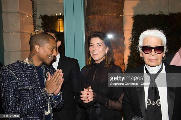 Pharrell Williams Princess Caroline of Hanover and Karl Lagerfeld attend the 'Chanel Collection des Metiers d'Art 2016/17 Paris Cosmopolite' show at...