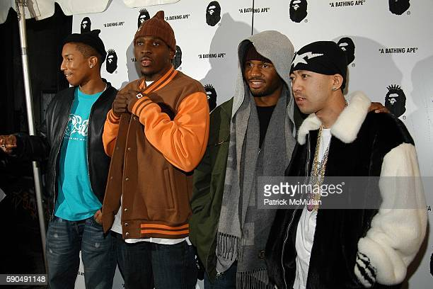 Pharrell Williams Pusher T Shay and Nigo attend Pharrell Williams Hosts the Store Opening of Nigo's 'A Bathing Ape' at A Bathing Ape Store on January...