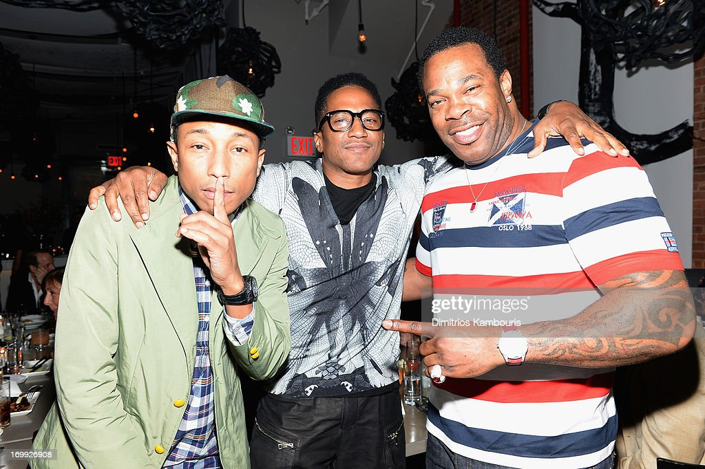 Pharrell Williams, Q-Tip and Busta Rhymes attend the 10th anniversary party of Billionaire Boys Club presented by HTC at Tribeca Canvas on June 4, 2013 in New York City.