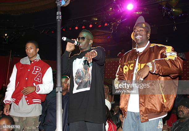 Pharrell Williams Sean P Diddy Combs and Loon during Loon's SelfTitled Debut Album Release Party at Show in New York City New York United States