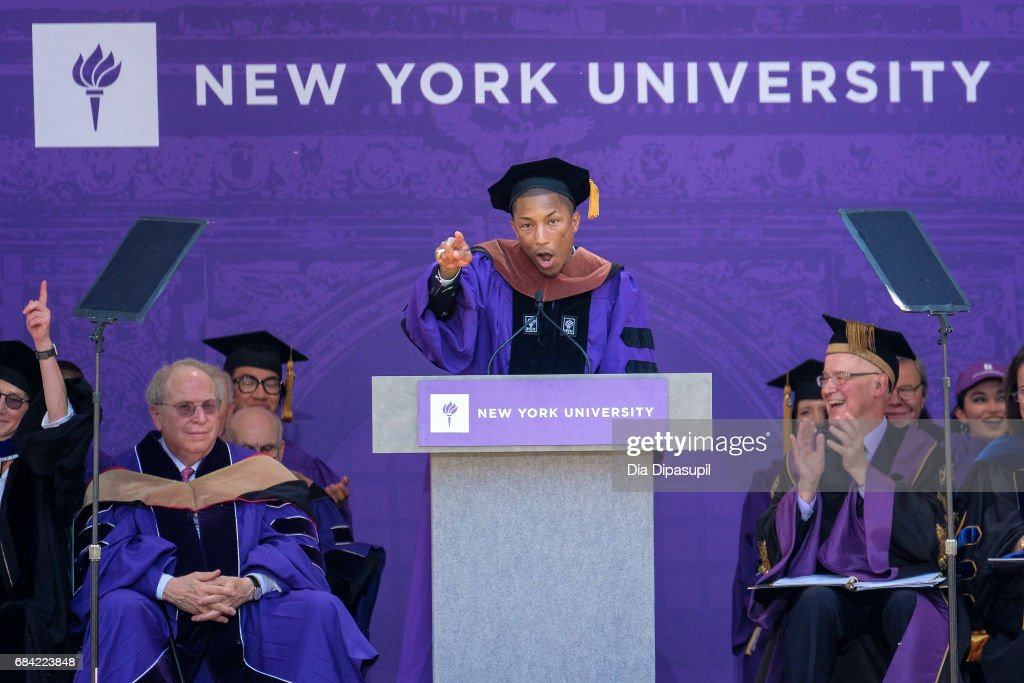 Pharrell Williams speaks during the New York University 2017 Commencement at Yankee Stadium on May 17, 2017 in the Bronx borough of New York City.