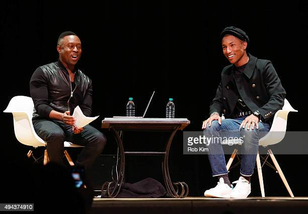 Pharrell Williams talks with Jason King during 'In Conversation Pharrell Williams' presented by NPR Music and NYU Tisch School Of The Arts at Town...
