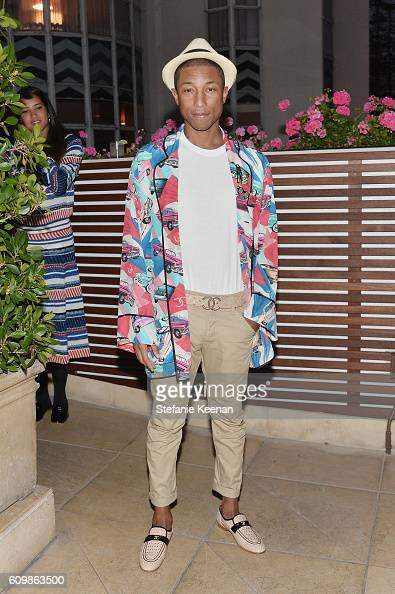 Pharrell Williams wearing Chanel attends the Chanel dinner celebrating N°5 L'Eau with LilyRose Depp at Sunset Tower Hotel on September 22 2016 in...