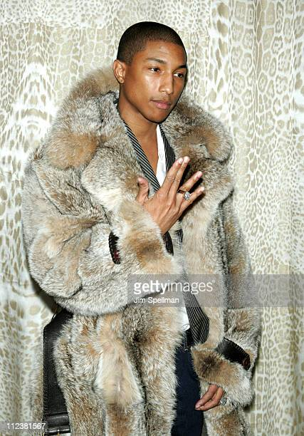 Pharrell Williams wearing Roberto Cavalli during Roberto Cavalli Hosts a Preview Gala for the Metropolitan Museum's 'WILD Fashion Untamed' Arrivals...