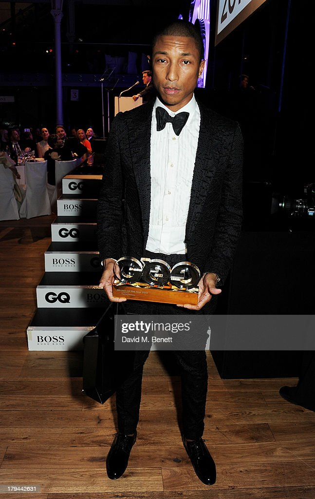 <a gi-track='captionPersonalityLinkClicked' href=/galleries/search?phrase=Pharrell+Williams&family=editorial&specificpeople=161396 ng-click='$event.stopPropagation()'>Pharrell Williams</a>, winner of Best Performer, attends the GQ Men of the Year awards at The Royal Opera House on September 3, 2013 in London, England.
