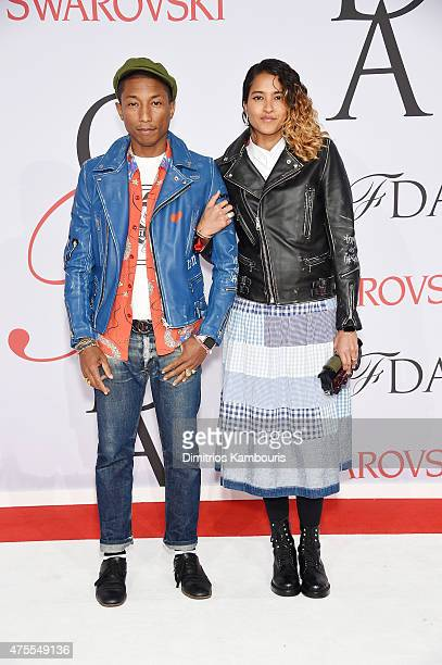 Pharrell Williamsand Helen Lasichanh attend the 2015 CFDA Fashion Awards at Alice Tully Hall at Lincoln Center on June 1 2015 in New York City