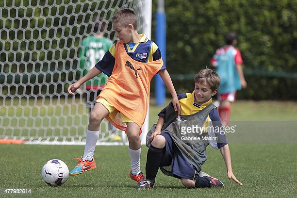 A phase of football 5 5 during the Italian Football Federation Grassroots Festival at Coverciano on June 21 2015 in Florence Italy