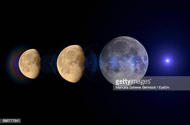 Phases Of The Moon Against Sky At Night