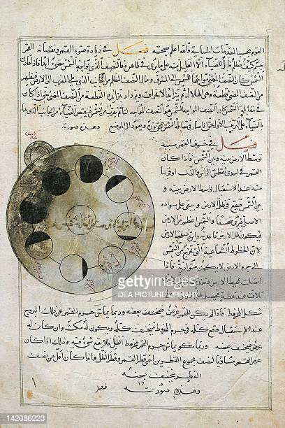 Phases of the moon miniature from the Wonders of Creation Arabic manuscript 14th Century
