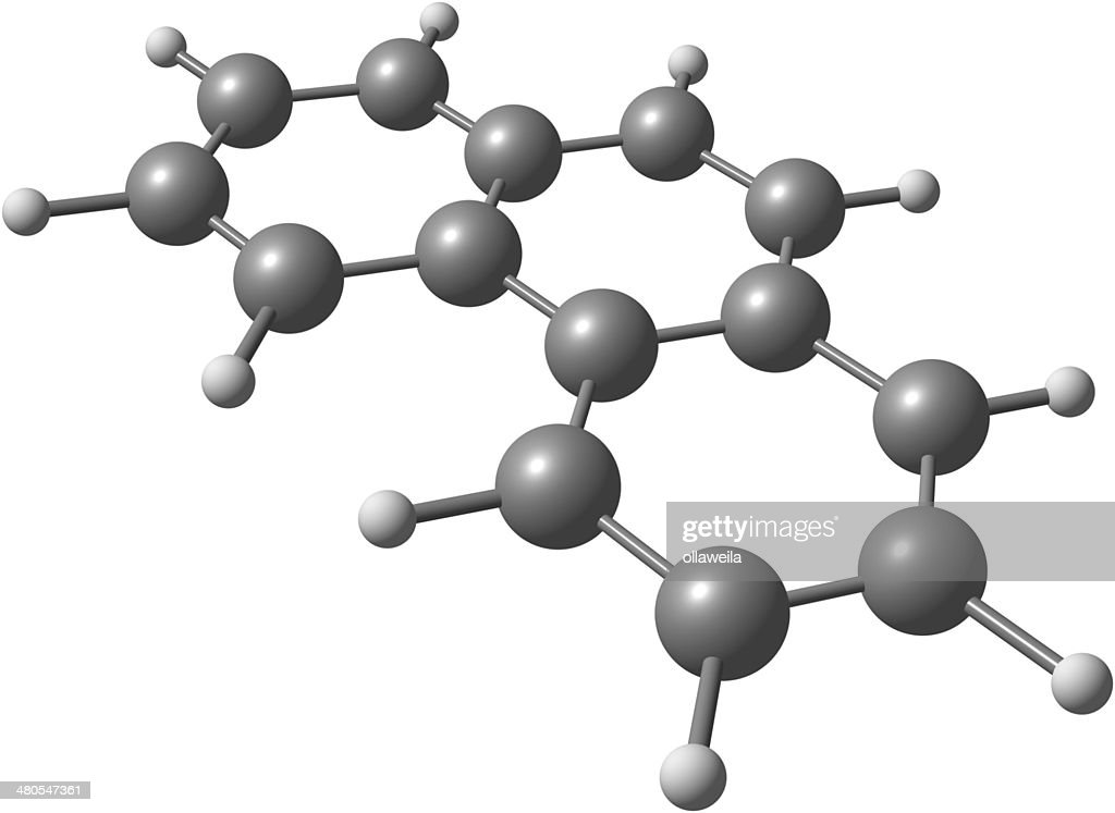 Phenanthrene-Molekül strukturelle model in Weiß : Stock-Foto