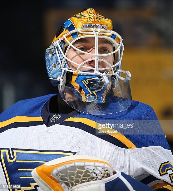 Pheonix Copley of the St Louis Blues skates in warmups prior to the game against the Nashville Predators during an NHL game at Bridgestone Arena on...
