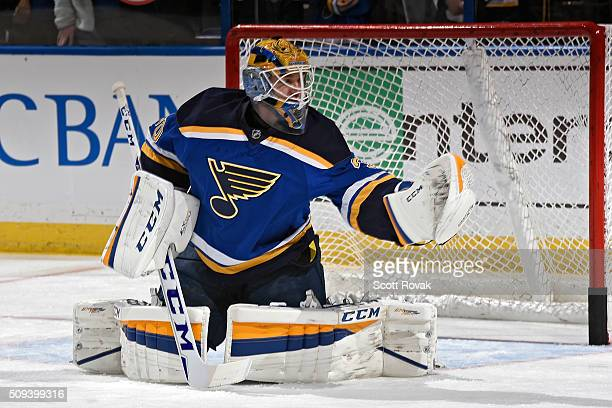 Pheonix Copley of the St Louis Blues warms up before a game against the San Jose Sharks at the Scottrade Center on February 4 2016 in St Louis...