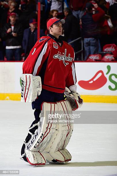 Pheonix Copley of the Washington Capitals looks on after the Capitals defeated the Detroit Red Wings during an NHL game at Verizon Center on January...