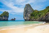 Paradise Phi phi island beach. Sea and rock, Krabi Thailand