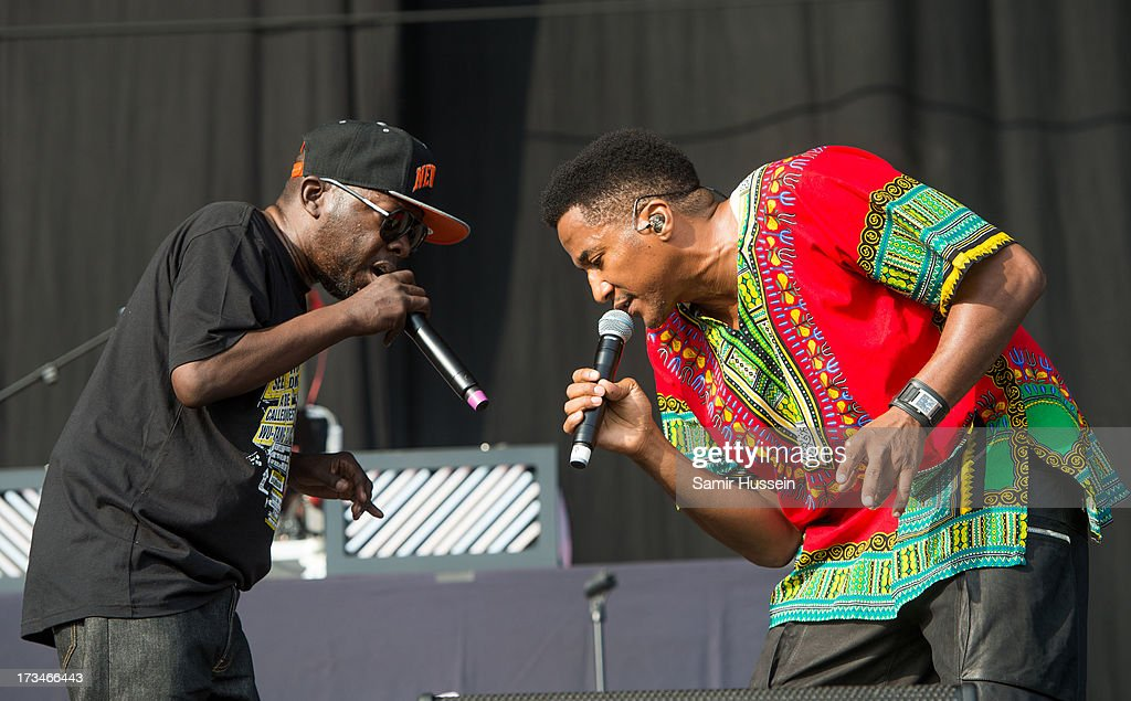Phife Dawg and Q-Tip of A Tribe Called Quest perform on the main stage on day 3 of the Yahoo! Wireless Festival at Queen Elizabeth Olympic Park on July 14, 2013 in London, England.