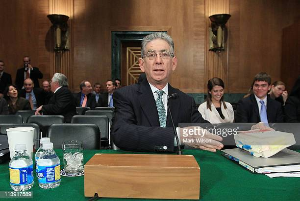 Phil Angelides chairman of Financial Crisis Inquiry Commission participates in a Senate Banking Committee hearing May 10 2011 in Washington DC The...