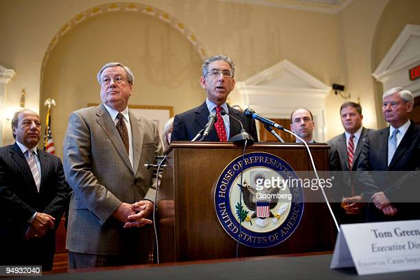 Phil Angelides former treasurer of California and chairman of the Financial Crisis Inquiry Commission center speaks to the media following a meeting...