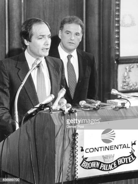 Phil Bakes President of Continental With Congressman Ken Kramer during announcement re Continental buying Frontier Credit The Denver Post