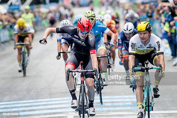 Phil Bauhaus of Bora Argon wins stage five at the Postnord Danmark Rundt race between Karrebaksminde and Copenhagen on July 31 2016 in Frederiksberg...