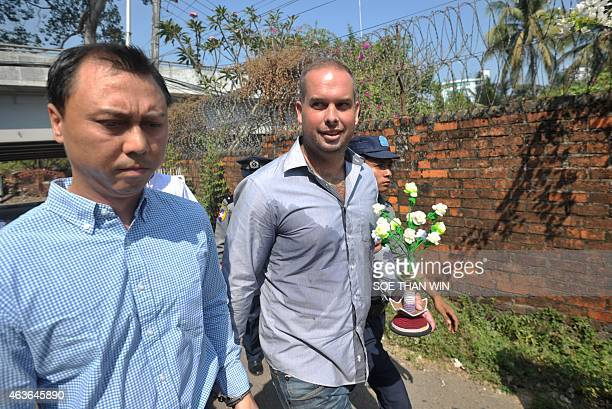 Phil Blackwood a bar manager from New Zealand arrives at a court for a hearing in Yangon on February 17 2015 Blackwood is accused of insulting...