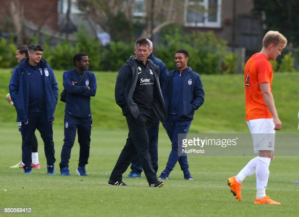 Phil Brown manager of Southend United and New signing Josh Wright of Southend United during Central League Cup match between Barnet Under 23s and...