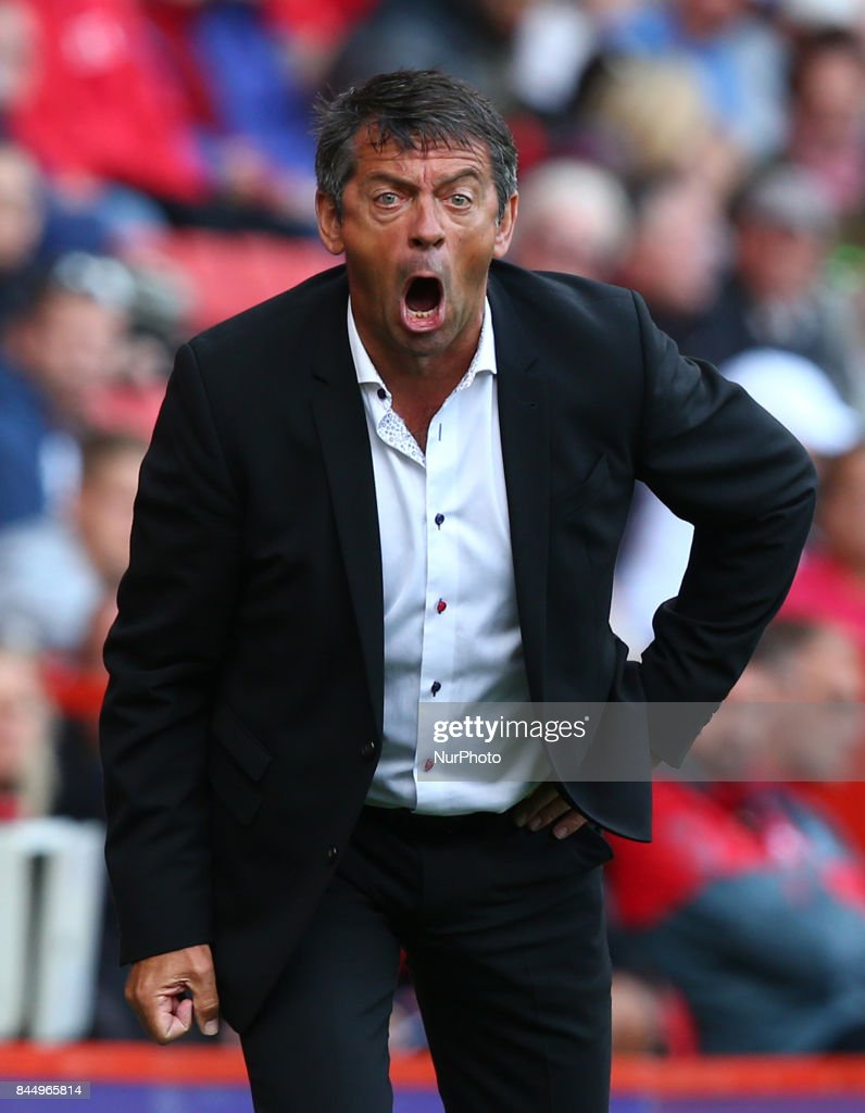 Phil Brown manager of Southend United during Sky Bet League One match between Charlton Athletic against Southend United at The Valley Stadium London on 09 Sept 2017