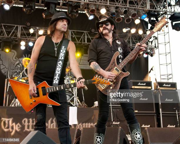 Phil Campbell and Lemmy Kilmister of Motorhead perform during the 2011 Hangout Music Festival on May 21 2011 in Gulf Shores Alabama