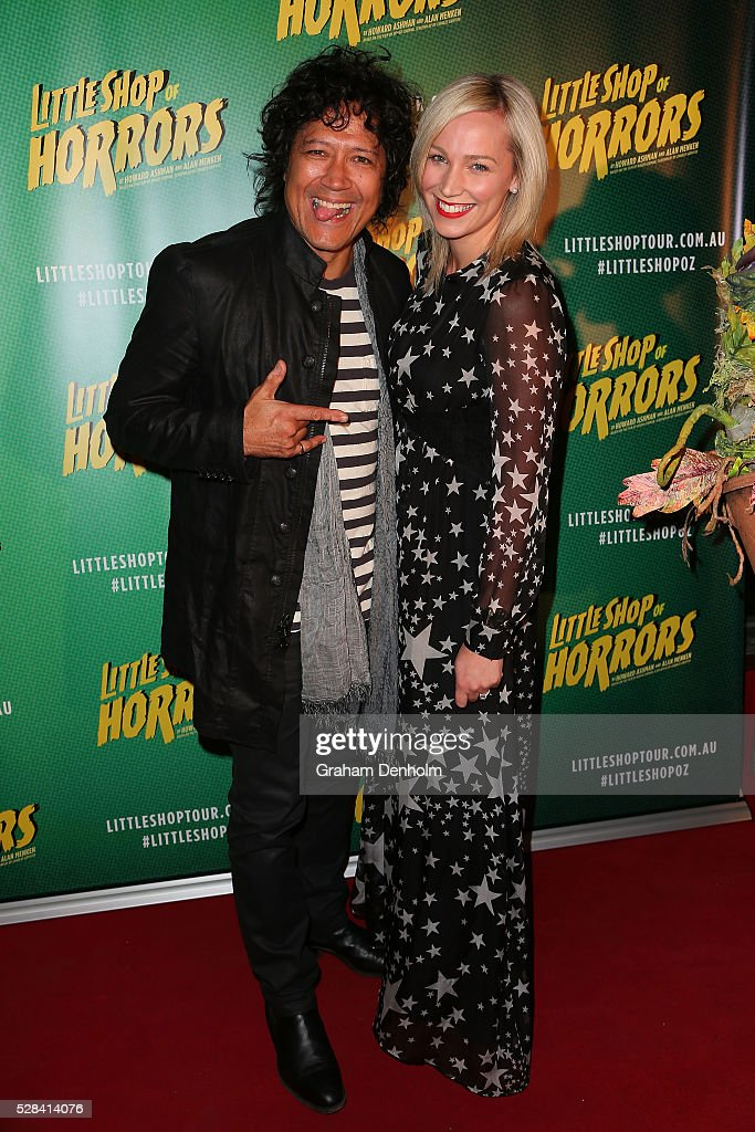 Phil Ceberano and wife Angela Ceberano arrive ahead of opening night for the Little Shop of Horrors at the Comedy Theatre on May 5, 2016 in Melbourne, Australia.