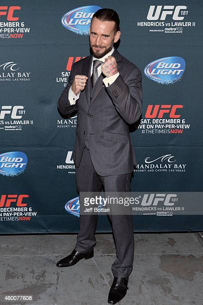 Phil 'CM Punk' Brooks poses backstage during the UFC 181 event inside the Mandalay Bay Events Center on December 6 2014 in Las Vegas Nevada