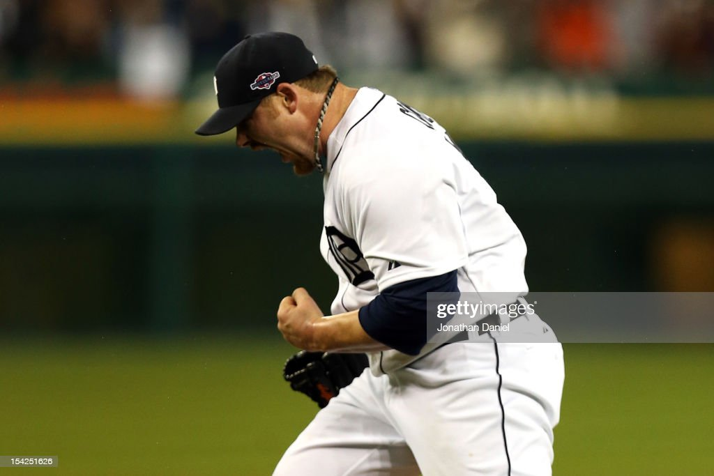 <a gi-track='captionPersonalityLinkClicked' href=/galleries/search?phrase=Phil+Coke&family=editorial&specificpeople=5518031 ng-click='$event.stopPropagation()'>Phil Coke</a> #40 of the Detroit Tigers celebrates after he struck out Raul Ibanez #27 of the New York Yankees for the final out to give the Tigers a 2-1 win during game three of the American League Championship Series at Comerica Park on October 16, 2012 in Detroit, Michigan.