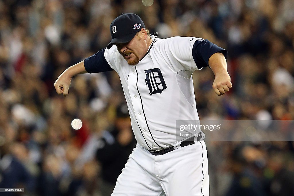 <a gi-track='captionPersonalityLinkClicked' href=/galleries/search?phrase=Phil+Coke&family=editorial&specificpeople=5518031 ng-click='$event.stopPropagation()'>Phil Coke</a> #40 of the Detroit Tigers celebrates after the Tigers own 8-1 against the New York Yankees during game four of the American League Championship Series at Comerica Park on October 18, 2012 in Detroit, Michigan.