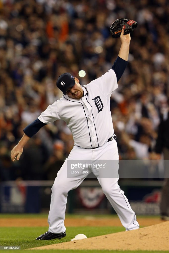 Phil Coke #40 of the Detroit Tigers celebrates after the Tigers own 8-1 against the New York Yankees during game four of the American League Championship Series at Comerica Park on October 18, 2012 in Detroit, Michigan.