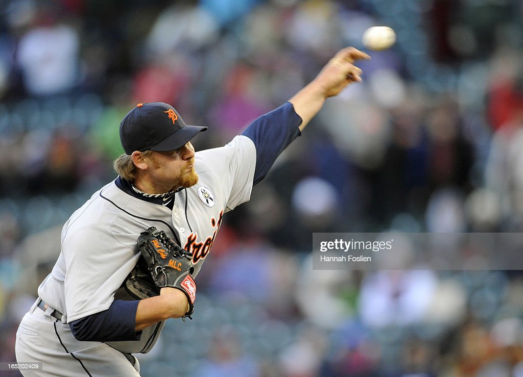 <a gi-track='captionPersonalityLinkClicked' href=/galleries/search?phrase=Phil+Coke&family=editorial&specificpeople=5518031 ng-click='$event.stopPropagation()'>Phil Coke</a> #40 of the Detroit Tigers delivers a pitch against the Minnesota Twins during the ninth inning of the Opening Day game on April 1, 2013 at Target Field in Minneapolis, Minnesota. The Tigers defeated the Twins 4-2.