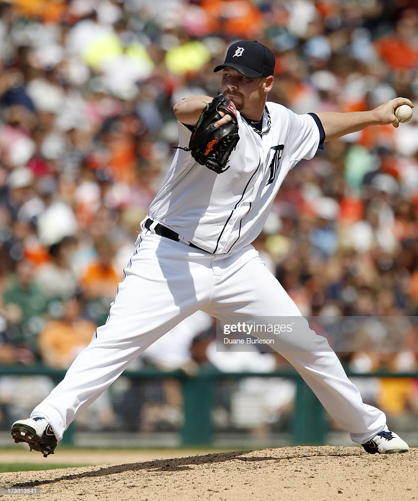 <a gi-track='captionPersonalityLinkClicked' href=/galleries/search?phrase=Phil+Coke&family=editorial&specificpeople=5518031 ng-click='$event.stopPropagation()'>Phil Coke</a> #40 of the Detroit Tigers pitches against the Chicago White Sox in the eighth inning at Comerica Park on July 11, 2013 in Detroit, Michigan.